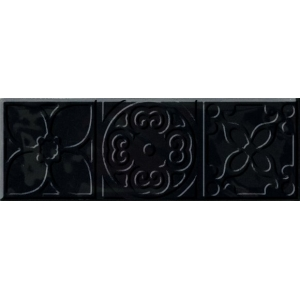 DECOR ALTAIR BLACK BRILLO 1ª 10x30.5